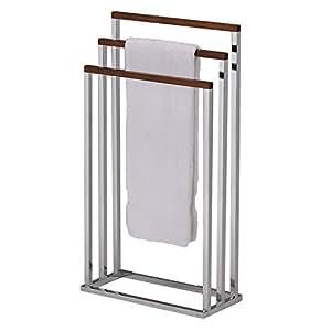 3 tier free standing chrome finish metal wood bath towel rack home kitchen