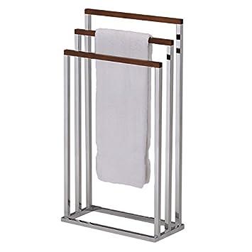 Amazon.com: 3-tier Free Standing Chrome Finish Metal/Wood Bath Towel ...