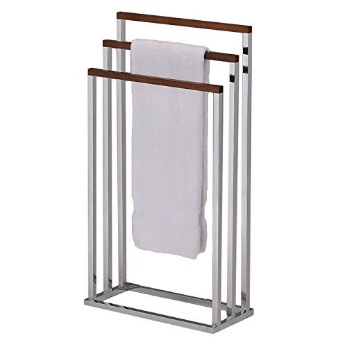 3-tier Free Standing Chrome Finish Metal/Wood Bath Towel Rack