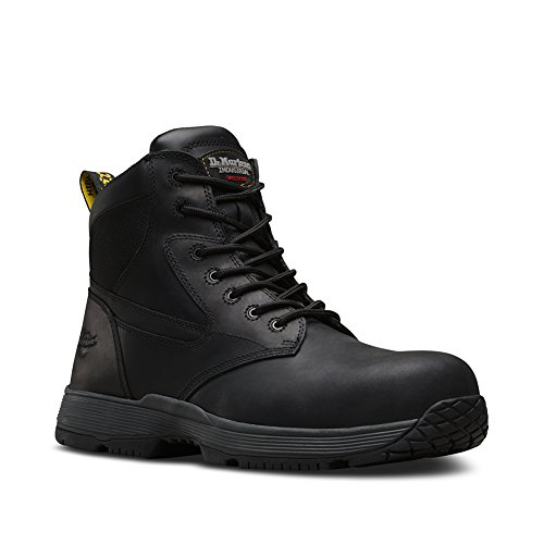 Cap Toe 10 Eye Boot (Dr. Martens Men's Corvid Static Dissipation ST 7 Eye Boots, Black Leather, Rubber, 10 M UK, 11 M US)