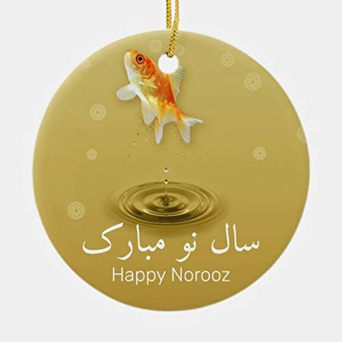 Lplpol Christmas New Year Ornament Persian Happy New Year Norooz Fish Ceramic Ornament Ceramic Ornament for Christmas Tree Decoration