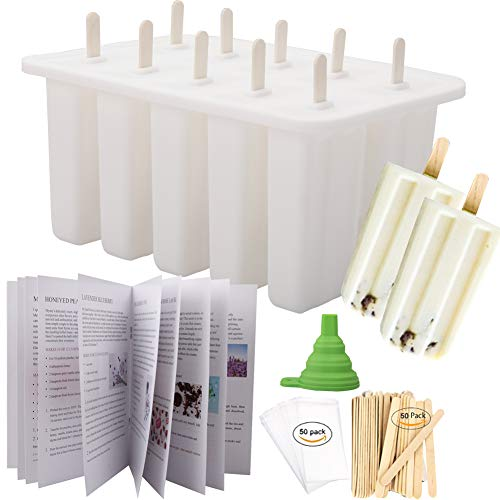 Homemade Popsicle Molds Shapes, Food Grade Silicone Frozen Ice Popsicle Maker-BPA Free, with 50 Popsicle Sticks 50 Popsicle Bags(10 Cavities) (10 Cavities, white)
