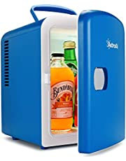 AstroAI Mini Fridge 4 Liter/6 Can Mini Frigo AC/DC Portable Thermoelectric Cooler and Warmer for Skincare, Foods, Medications, Cosmetics,Home and Travel Gift for Man, Blue, Cadeau