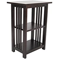 Alaterre Mission 2 Shelf End Table in Espresso