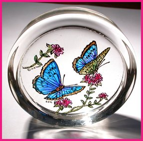 Decorative Hand Painted Stained Glass Paperweight in a Blue Butterflies Design