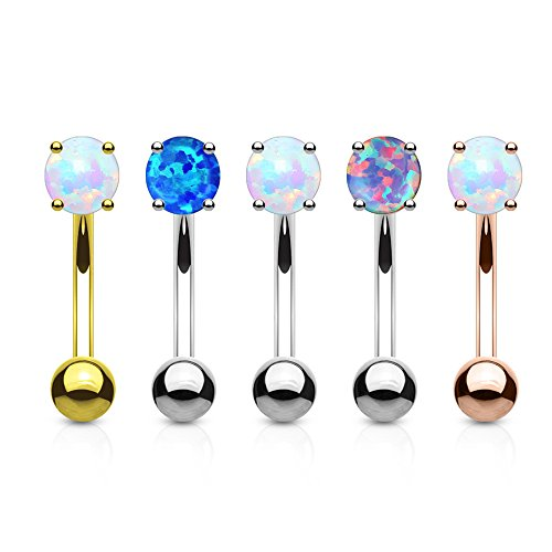 (MoBody 5 Pieces Created-Opal Curved Eyebrow Ring Barbells Set Surgical Steel Belly Piercing Jewelry 16G)