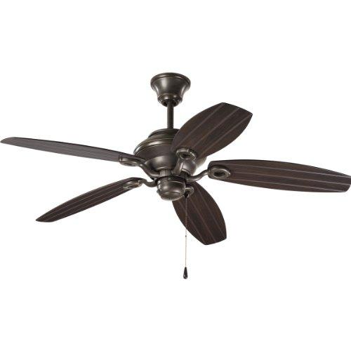 (Progress Lighting P2533-20 Downrod Mount, 5 Bronze Blades Ceiling fan, Antique Bronze)