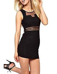 Women's Sexy Sleeveless Sheer Bodycon Cocktail Dress