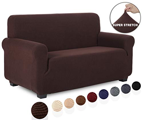 TIANSHU Loveseat Slipcover Furniture Protector, Non Slip 2 Cushion Couch Covers for Dogs, Soft/Durable/Stay in Place Sofa Cover (Loveseat, Chocolate)