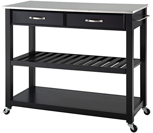 Crosley Furniture Portable Kitchen Cart with Stainless Steel Top - Black from Crosley Furniture