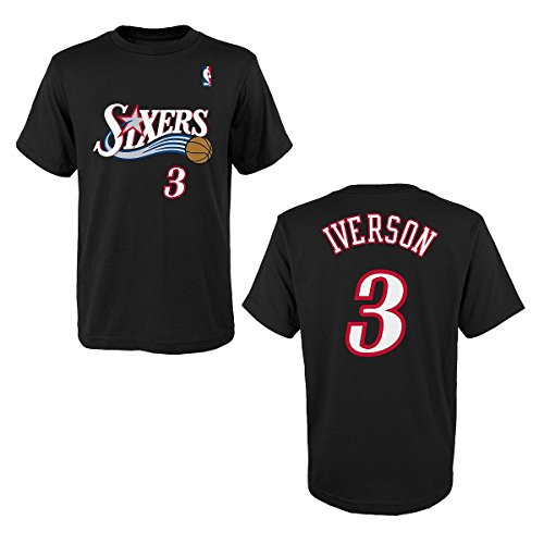 'Allen Iverson Retro Philadelphia 76ers adidas Youth Game Time Name Number T-Shirt - Black (Youth 10/12)'
