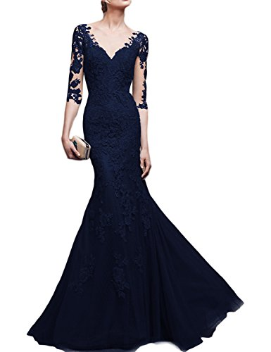 OYISHA Womens Long Lace Mermaid Evening Dress 3/4 Sleeve Wedding Party Gown EV47 Navy Blue 14