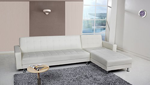 Gold Sparrow Frankfort Convertible Sectional Sofa Bed, White (White Sectional Sofa)