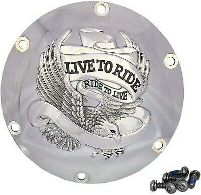 Live to Ride Eagle Chrome Derby Cover for Harley Sportster 04-20