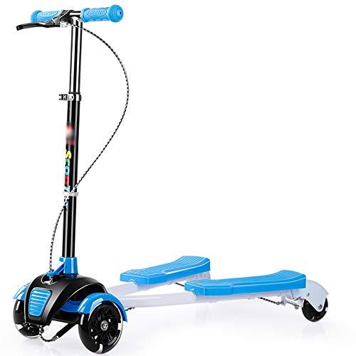 【本物新品保証】 キックスクーター三輪車スケートボードペダル式乗用スタントスクーター折りたたみTバーハンドルLEDライトアップホイール付き調節可能な B07HCKQDCY 青 青 青 青, 天神名物 卸のまんま:65c0698d --- a0267596.xsph.ru