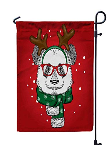 Shorping Welcome Garden Flag, 12x18Inch Funny Panda Wearing Glasses Horns Bear in Deer Costume Card Poster Print Clothes New Year Christmas for Holiday and Seasonal Double-Sided Printing Yards -