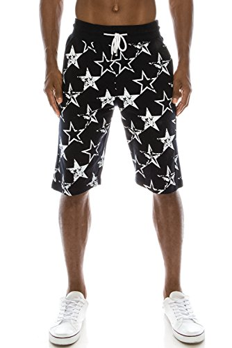 JC DISTRO Mens Hipster Hip Hop All-Over Star Printed Knee Length Navy Jogger Shorts L