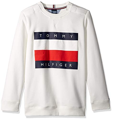 Tommy Hilfiger Boys' Adaptive Sweatshirt with Velcro Brand Closures at Shoulder, Snow White LG