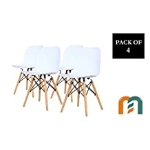 Shell Style Modern Mid Century Molded Plastic Side Dining Chair with Natural Wood Leg, Heavy Duty for Dining Room, by Mastery Mart (Set of 4, White)