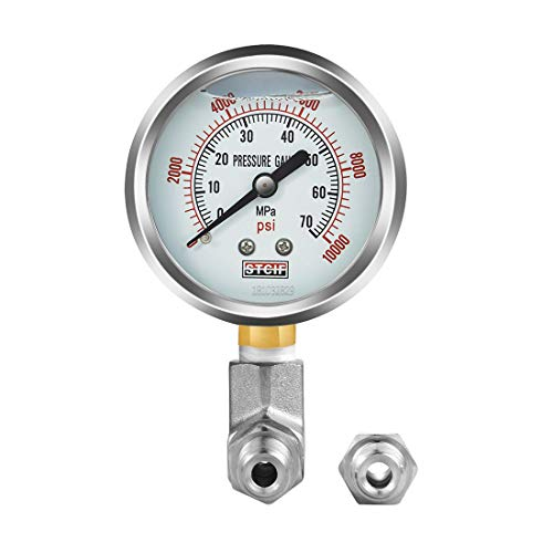 Pressure Guage Kit | 304 Stainless Steel Pressure Gauge [ 0-10000 PSI ] + A Pressure Adapter - Paired with 10-Ton Hydraulic Pump for dp-hr10t35v ()
