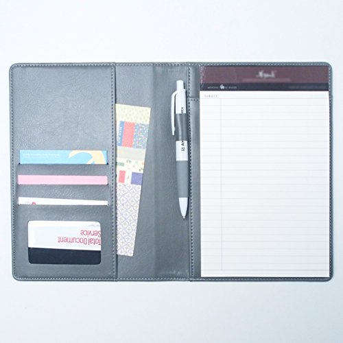 AHZOA 4 Pockets A5 Memo Padfolio S3, Synthetic Leather Handmade 6.3 X 8.66 Inch Folder Clipboard Writing Pad … (gray)