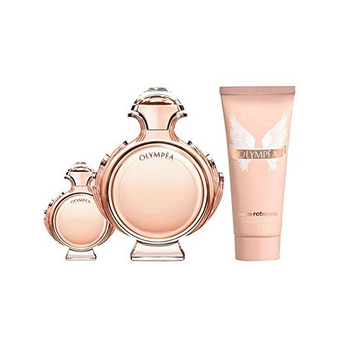Paco Rabanne Olympea for Women 3 Piece Set with 2.7 Ounce Eau de Parfum Spray + 0.34 Ounce Eau de Parfum Spray + 2.5 Ounce Sensual Body Lotion by Paco Rabanne