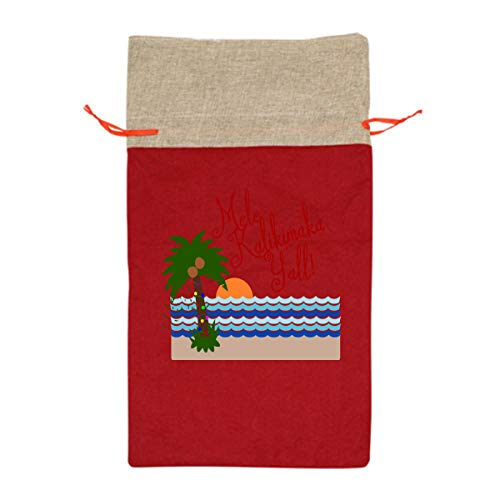 Mele Kalikimaka Christmas Hawaii Palm Tree 12 Inch Long Tall Candy Treat Merry Christmas Xmas Eve Gift Bags Handles Carrying Toys Goodie Themed Party Holiday Nice Large - Gift Mele Kalikimaka Tree