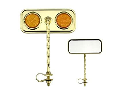NEW Twisted Gold Rectangle Bicycle Mirror Reflector Beach Cruiser Lowrider Bike