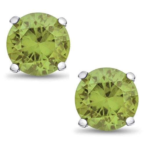 Genuine 3mm Brilliant Round Cut Green Peridot Rhodium Plated Sterling Silver Basket Set Stud Earrings