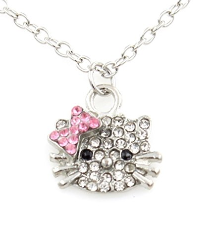 Sweet Princess Hello Kitty - Swarovski Austrian Elements Crystals Rhinestones - Fashion Jewelry for Girls Bling Pink Bow sm
