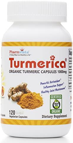 Certified Organic Turmeric Curcumin 1000mg Capsules, Made in The USA, 120 Clear Vegetarian Capsules
