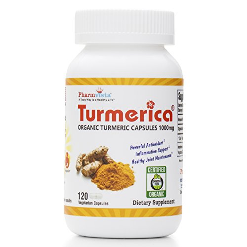 - Certified Organic Turmeric Curcumin 1000mg Capsules, Made in The USA, 120 Clear Vegetarian Capsules