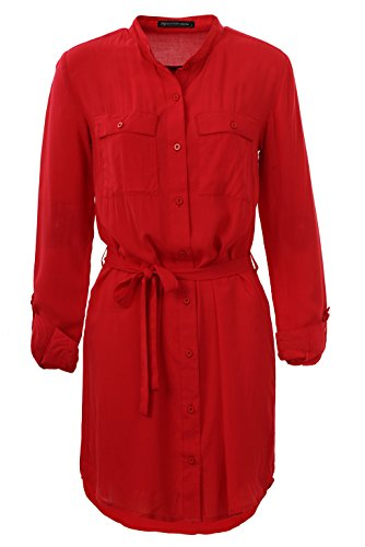 GLOSTORY Women's Casual Long Sleeve Button Down Shirt Dress 3006(Red-S) (Red Shirt Dress)