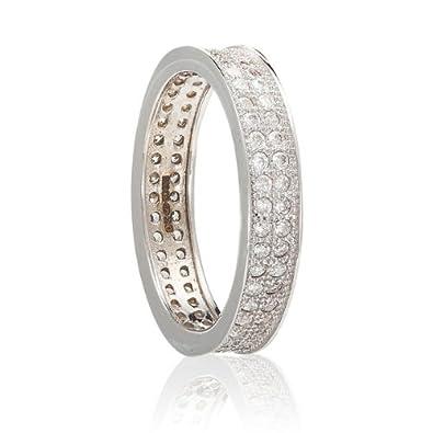 Anillo de Matrimonio, Plata de ley 925, brillante Circonita, 4 mm: Amazon.es: Joyería