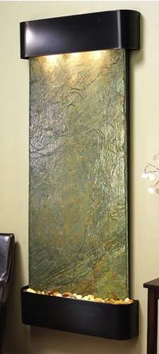 Adagio Inspiration Falls Wall Fountain Green Solid Slate Blackened Copper - IFR1502 ()
