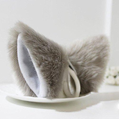 YSTD® Cat Fox Long Fur Ears Anime Neko Costume Orecchiette Hair Clip Party (Light Gray and White)]()
