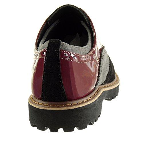 matière Angkorly Derbies Mode Talon finition bloc CM perforée 3 femme verni surpiqûres bi Noir coutures Chaussure qfwarIf