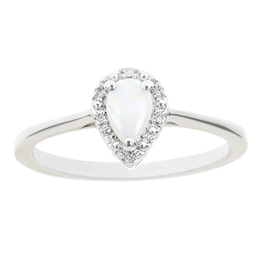 Opal Pear Ring (Sterling Silver 6x4mm Pear Shaped 0.22 Cttw Genuine Natural Opal Diamond Accent Ring - Size 6)