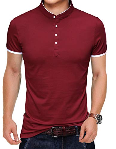 YTD Mens Summer Slim Fit Pure Color Short Sleeve Polo Casual T-Shirts (US XX-Large, Wine Red) (Franela Polo)