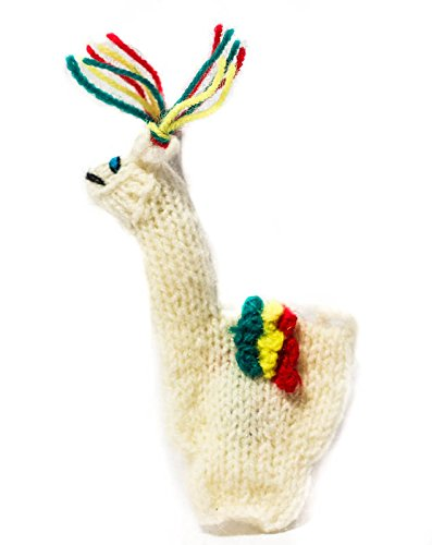 White Llama Finger Puppet From Peru Handmade Alpaca Wool