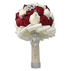 Mangadua Silk Roses Bride Bridal Bouquet Bridesmaid Wedding Bouquet Wedding Flowers with Artificial Crystal Pearl Diamond 1