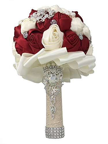 Brides Silk Wedding Bouquet (Jackcsale Romantic Wedding Bride Holding Bouquet Roses with Diamond Pearl Ribbon Valentine's Day Bouquet Confession (D453 Wine red+Ivory))