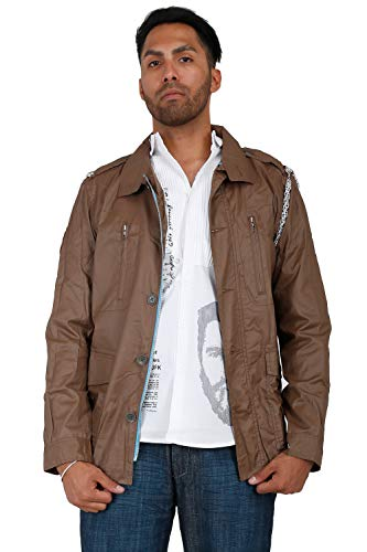 Jacket Twill Coated - Blanco Label Men's Coated Taupe Twill Militia Jacket, Silver Chain & Back Print Size XL