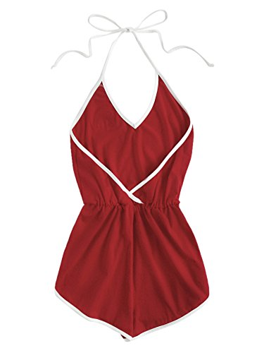 SweatyRocks Women's Sleeveless V Neck Rainbow Patch Contrast Binding Halter Romper Red S by SweatyRocks (Image #1)