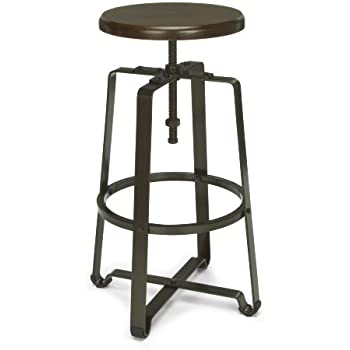 Amazon Com Ofm 920 Wnt Metal Stool With Walnut Seat And