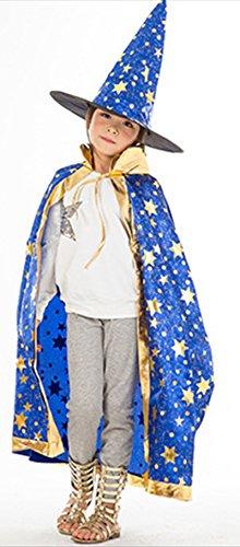 [Cloak Length 82cm Children Suit Blue Star Pattern Cloak Wizard Hat] (Childs Bat Costume Pattern)