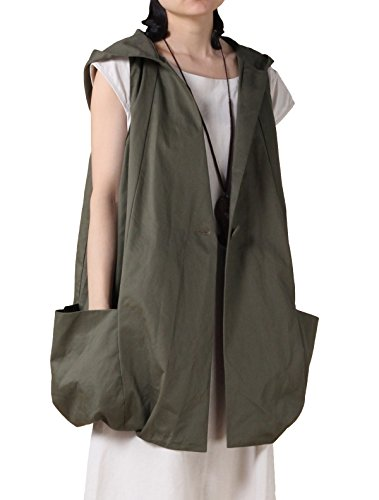 Mordenmiss Women's Sleeveless Coat Vest Hoodie Waistcoat Anoraks With Big Pockets (Large, Style 2-Army Green)
