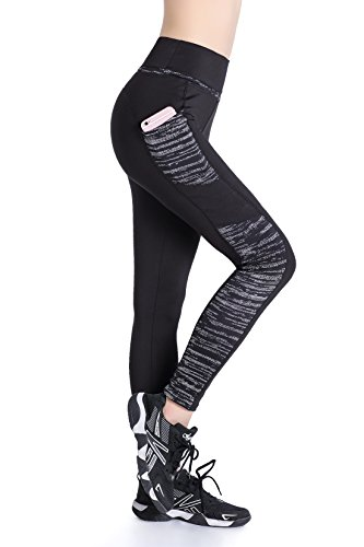 EAST HONG Women's Yoga Leggings Exercise Workout Pants Gym Tights (S, Black Hit Color)