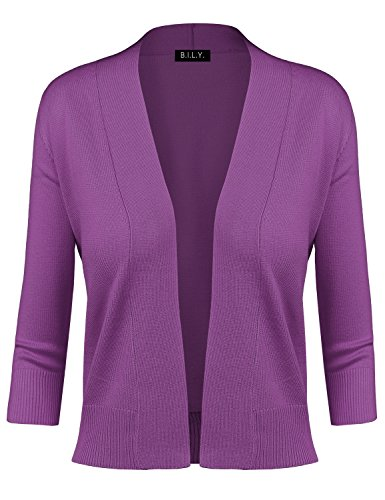 BH B.I.L.Y USA Women's Classic Open Front Cropped Cardigan Ultra Violet Medium