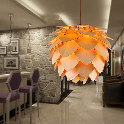 Tongling Nordic Wooden Pendant Light Pine Cone Wooden Pendant Lamp DIY American Modern Hanging Lamp Living Room Dining Room Bedroom Cafe led Light Night (Color : AC 220V, Size : Cold White) ()